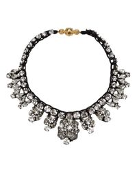 Shourouk - Metallic Crystal Stud Row Necklace - Lyst