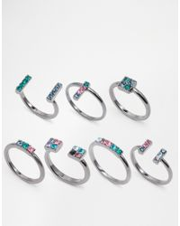 Lipsy - Metallic Bright Geo Ring Stack - Lyst