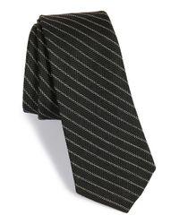 W.r.k. - Black Stripe Wool & Cotton Tie for Men - Lyst