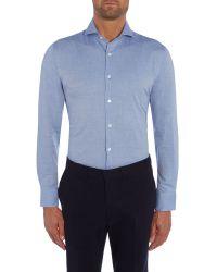 Chester Barrie - Blue Herringbone Tailored Fit Long Sleeve Shirt for Men - Lyst