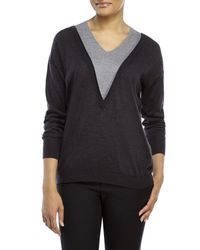 Les Copains - Gray Double V-Neck Wool Sweater - Lyst