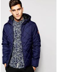 Blend - Blue Quilted Hooded Jacket for Men - Lyst