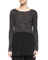 Vince | Gray Mixed Media Long-sleeve Top | Lyst
