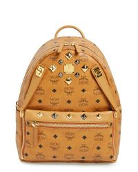 MCM - Orange 'small Dual Stark' Backpack - Lyst