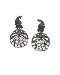 BCBGMAXAZRIA - Black Pave Peacock Earrings - Lyst