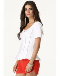 Bebe - White Zip Front Fitted Top - Lyst