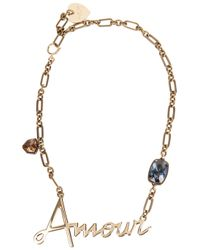 Lanvin - Metallic Amour Crystal-embellished Necklace - Lyst
