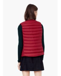 Mango - Red Quilted Lightweight Feather Gilet - Lyst