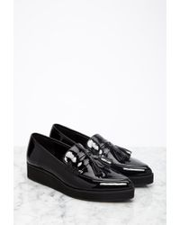 Forever 21 - Black Pointed Faux Patent Flatform Loafers - Lyst
