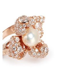 Anabela Chan | Metallic 'Mini Blossom' Pearl Diamond 18K Rose Gold Flower Ring | Lyst