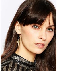 Pieces - Metallic Villon Spike Drop Earrings - Lyst