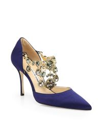 Manolo Blahnik | Blue Zullin Satin Jeweled D'orsay Pumps | Lyst