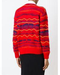 Love Moschino - Red Intarsia Logo Print Sweater - Lyst