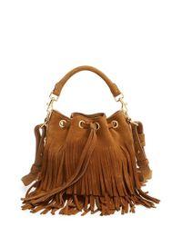 Saint Laurent - Brown Emmanuelle Fringed Bucket Bag - Lyst