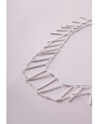 Missguided - Gray Longline Fringe Necklace - Lyst