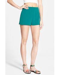 Lush - Green Woven Trouser Shorts - Lyst