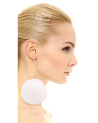 Tuleste - White Oversized Fur Pom Pom Earrings - Lyst