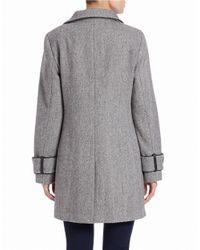 Calvin Klein | Gray Asymmetrical Zip-front Coat | Lyst
