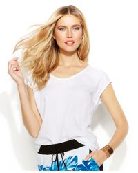 INC International Concepts - White Dolman-Sleeve Woven-Front Top - Lyst