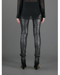JOSEPH - Gray Fantasy Leather Leggings - Lyst