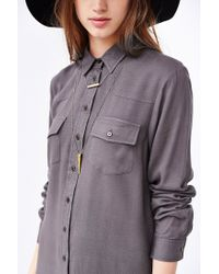 BDG - Gray Drapey Buttondown Shirtdress - Lyst