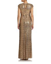 Badgley Mischka | Metallic Sequin Surplice Gown | Lyst