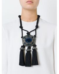 Lanvin | Black Tassel Necklace | Lyst