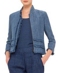 Akris Punto - Blue 3/4-sleeve Fringe-trim Jacket - Lyst
