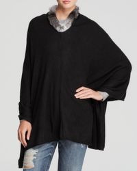 Gaynor | Black Rabbit Fur Trimmed Poncho | Lyst