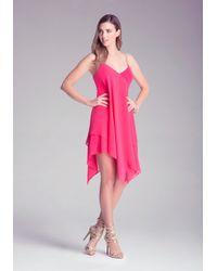 Bebe - Pink Flowy Chain Strap Dress - Lyst