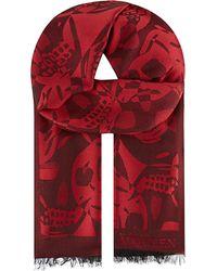 Alexander McQueen | Red Skull Jacquard Scarf for Men | Lyst