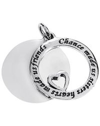 "Aeravida | Metallic ""chance Made Us Sisters \"" Friendship .925 Silver Pendant 