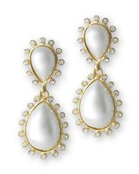 Kenneth Jay Lane | Metallic White Pearl Teardrop Pierced Earring | Lyst