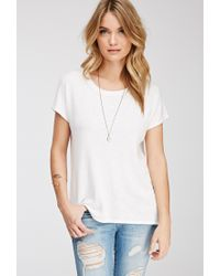 Forever 21 | White Contemporary Drapey Textured Knit Blouse You've Been Added To The Waitlist | Lyst