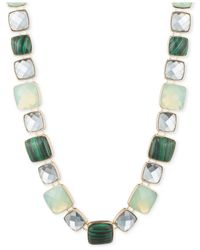 Anne Klein | Gold-tone Green Faceted Stone Collar Necklace | Lyst