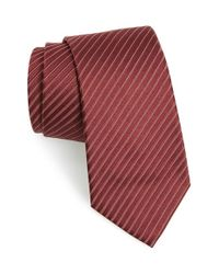 Armani | Red Stripe Silk Tie for Men | Lyst