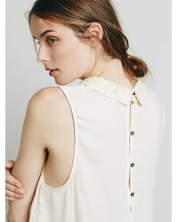 Free People - Natural Womens Lace Inset Collared Tank - Lyst