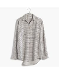 Madewell - Gray Flannel Sunday Shirt In Stripe - Lyst