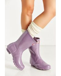 Hunter | Purple Original Short Gloss Boot | Lyst