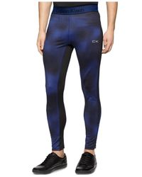 Calvin Klein | Blue Performance Mixed-media Compression Leggings for Men | Lyst