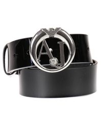Armani Jeans - Black Belt Patent Metal Logo Buckle - Lyst