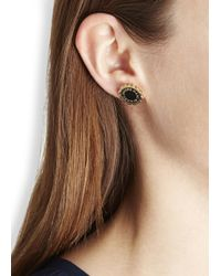 Marc By Marc Jacobs | Logo Disc O Black Gold Tone Stud Earrings | Lyst