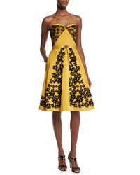 Oscar de la Renta - Yellow Strapless Lace-trimmed Faille Dress - Lyst
