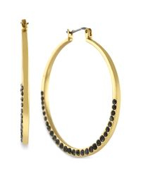 Jessica Simpson - Metallic Goldtone Jet Crystal Hoop Earrings - Lyst
