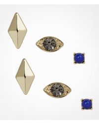 Express - Multicolor Pyramid Stud and Evil Eye Stud Earring Set - Lyst