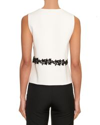 Giambattista Valli | White Embroidered Sleeveless Knit Top | Lyst