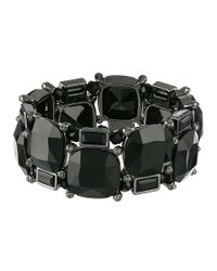 Lauren by Ralph Lauren | Black Faceted Jet Cushion Stone Stretch Bracelet | Lyst