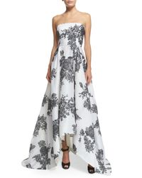 Monique Lhuillier - Gray Strapless Rose-print Silk Gazar Gown - Lyst