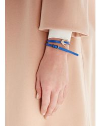 McQ - Mini Blue Swallow Leather Wrap Bracelet - Lyst