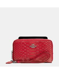 COACH - Red Double Zip Phone Wallet In Snake Embossed Leather - Lyst